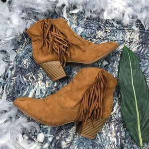 Express Suede Fringe Ankle Booties Size 10